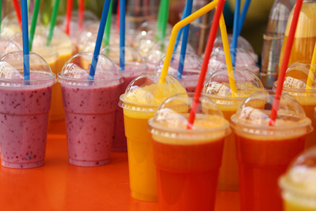 smoothie drinks for sale on local market